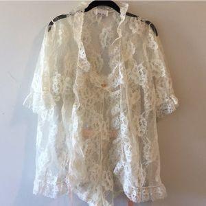 Vintage Lace Negligee Bodysuit & Gown Set